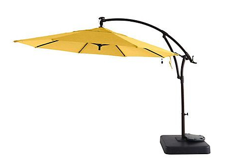 Widely Used Hampton Bay 11 Ft Offset Solar Patio Umbrella With Base – Daffodil Throughout Griselda Solar Lighted  Rectangular Market Umbrellas (View 25 of 25)