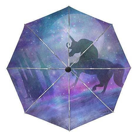 Widely Used Pau Rectangular Market Umbrellas Regarding Amazon : Magical Unicorn Myth Stars Dream Castle Automatic (View 12 of 25)