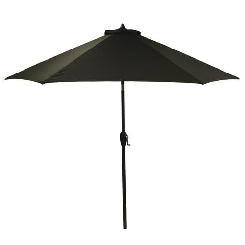 Widely Used Solid Market Umbrellas With Backyard Creations™ 9' Raven Black Solid Patio Market Umbrella (View 25 of 25)