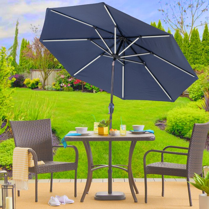 Widely Used Sun Ray Next Gen Solar Round 9' Market Umbrella Throughout Sun Ray Solar Cantilever Umbrellas (View 24 of 25)