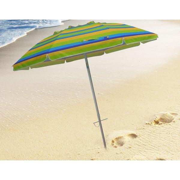 Widely Used Tilt Beach Umbrellas Regarding Shop 7 Foot Stripe Beach Umbrellas With Tilt And Travel Bag – Free (View 9 of 25)
