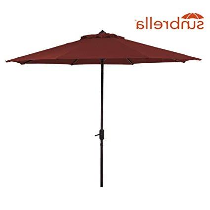 Wiebe Auto Tilt Square Market Sunbrella Umbrellas Within Trendy Sunbrella Patio Umbrella 9 Feet Outdoor Market Table Umbrella With Auto  Tilt & Crank (Sunbrella, Red (Cornell)) (View 14 of 25)
