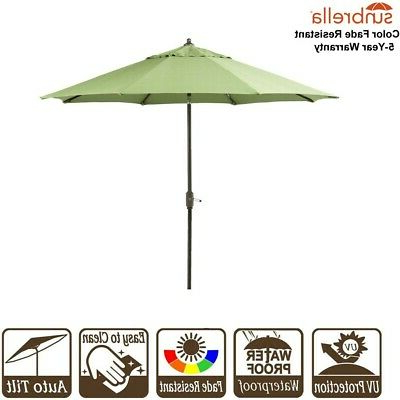 Wiebe Market Sunbrella Umbrellas Intended For Famous 9' Patio Umbrella Sunbrella Fabric Outdoor Market Umbrella W/ Crank & Auto  Tilt (View 19 of 25)