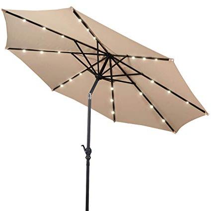Wiebe Market Sunbrella Umbrellas Pertaining To Favorite Giantex 10Ft Patio Umbrella Sunbrella With Lights, 8 Ribs Market Steel Tilt W/crank For Garden, Deck, Backyard, Pool Indoor Outdoor Use, Beige (View 14 of 25)