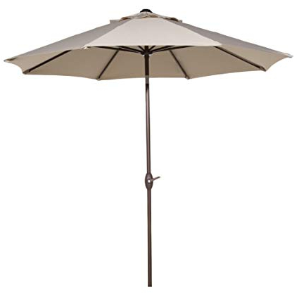 Wiechmann Market Sunbrella Umbrellas With Best And Newest Abba Patio Sunbrella Patio 9 Feet Outdoor Market Table Umbrella With Auto  Tilt And Crank, Canvas Antique Beige (View 25 of 25)
