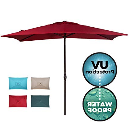 Wiechmann Push Tilt Market Sunbrella Umbrellas Within Well Known Abba Patio Rectangular Patio Outdoor Market Table Umbrella With Push Button  Tilt And Crank, 6. (View 21 of 25)