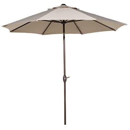 Wiechmann Push Tilt Market Sunbrella Umbrellas Within Well Known Abba Patio Sunbrella Patio 9 Feet Outdoor Market Table Umbrella With Auto  Tilt And Crank, Canvas Antique Beige (View 24 of 25)