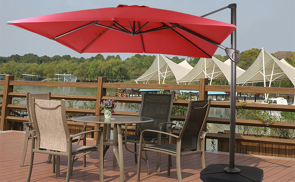 Windell Square Cantilever Umbrellas In Widely Used Amazon : Domi Outdoor Living 1010 Feet Square Cantilever (View 21 of 25)