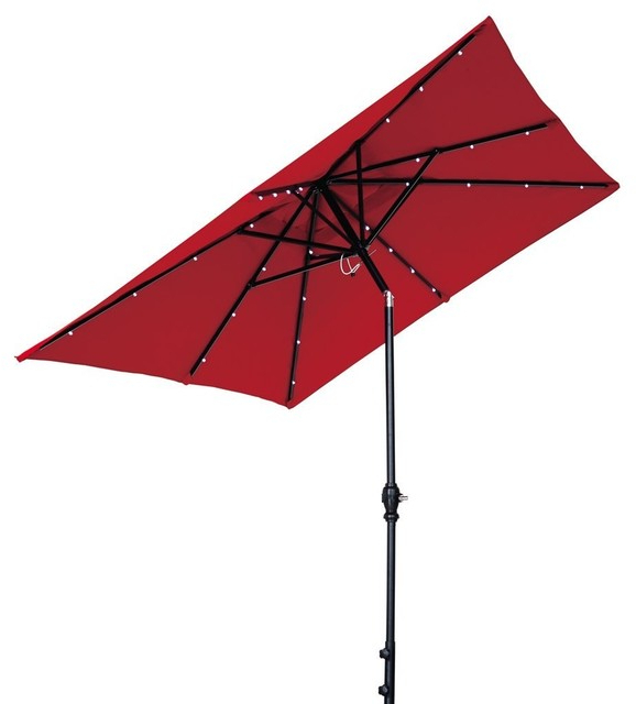 Woll Lighted Market Umbrellas For Preferred Solar Powered Patio Umbrella With 32 Led Lights, Tilt And Crank, 7'x9' (View 15 of 25)
