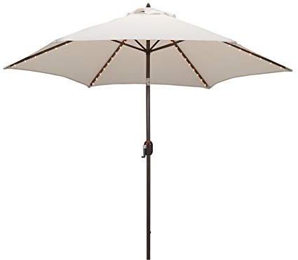 Woll Lighted Market Umbrellas Throughout Preferred Tropishade Tropilight Led Lighted 9 Ft Bronze Aluminum Market Umbrella With  Antique White Polyester Cover (View 23 of 25)