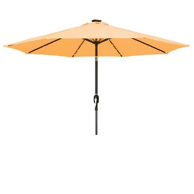 Woll Lighted Market Umbrellas With Latest Brayden Studio North Walsham 9' Lighted Umbrella Fabric: Apricot (View 5 of 25)