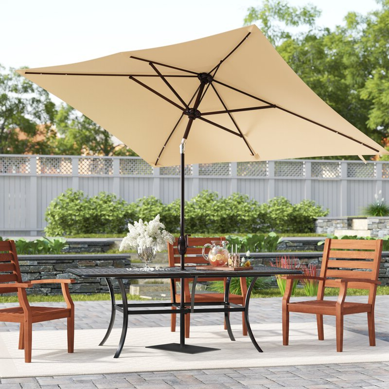 Zadie Twin Rectangular Market Umbrellas For Favorite Jerrell 10' X 7' Rectangular Market Umbrella (View 22 of 25)