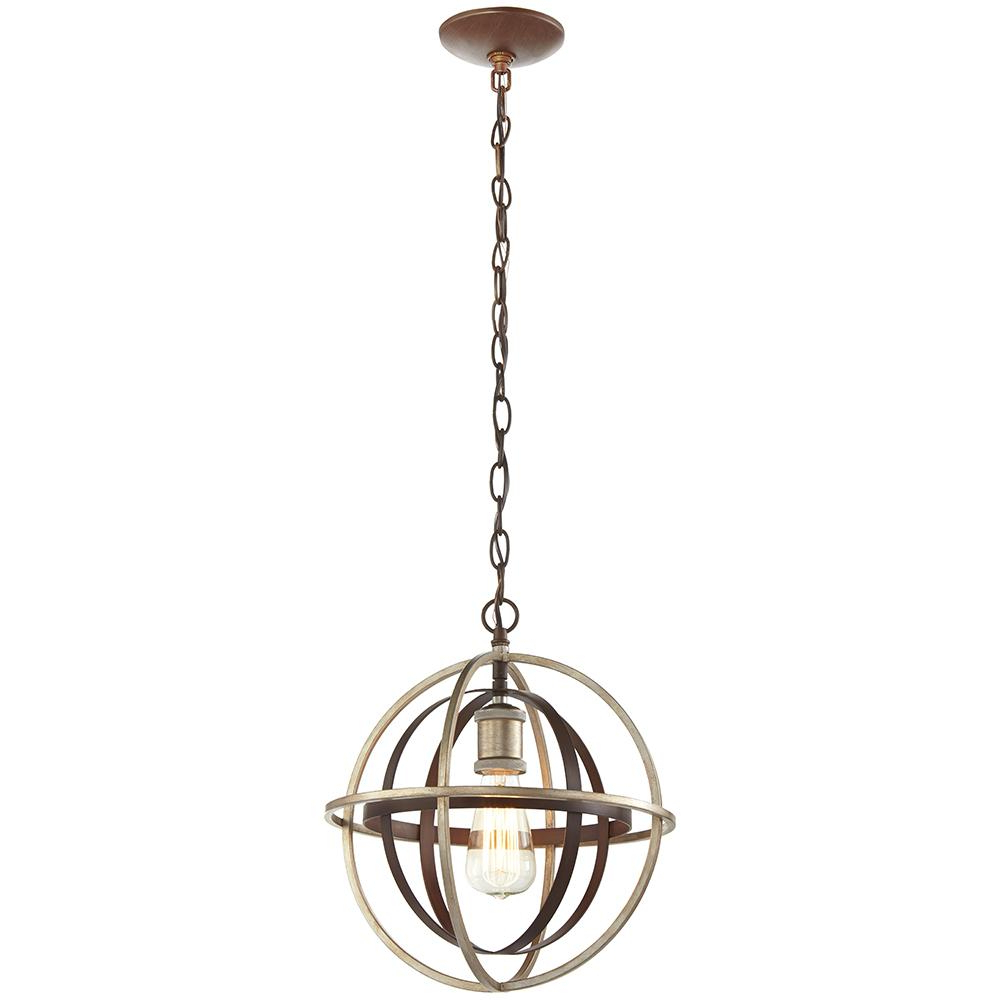 1 Light Bronze And Champagne Pewter Orb Mini Pendant With Regard To Newest Scruggs 1 Light Geometric Pendants (View 23 of 25)