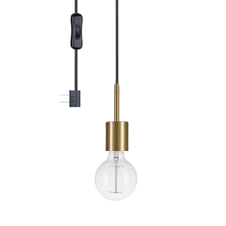 1 Light Geometric Globe Pendants In Well Liked Globe Electric Leila 1 Light Brass Plug In Pendant, (View 5 of 25)