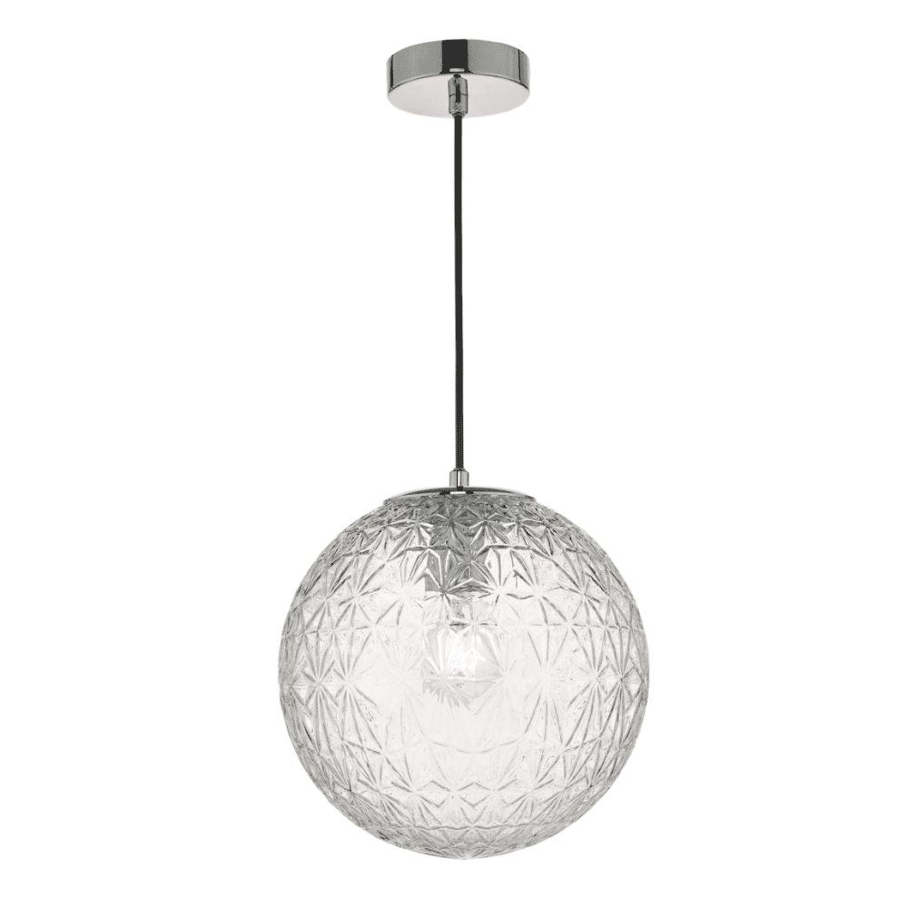 1 Light Geometric Globe Pendants Inside Most Recently Released Ossian 1 Light Pendant Polished Chrome And Clear Glass Small (Gallery 14 of 25)