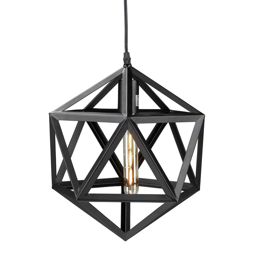1-Light Geometric Globe Pendants within Trendy Perdue 1-Light Matte Black Geometric Cage Pendant Lamp