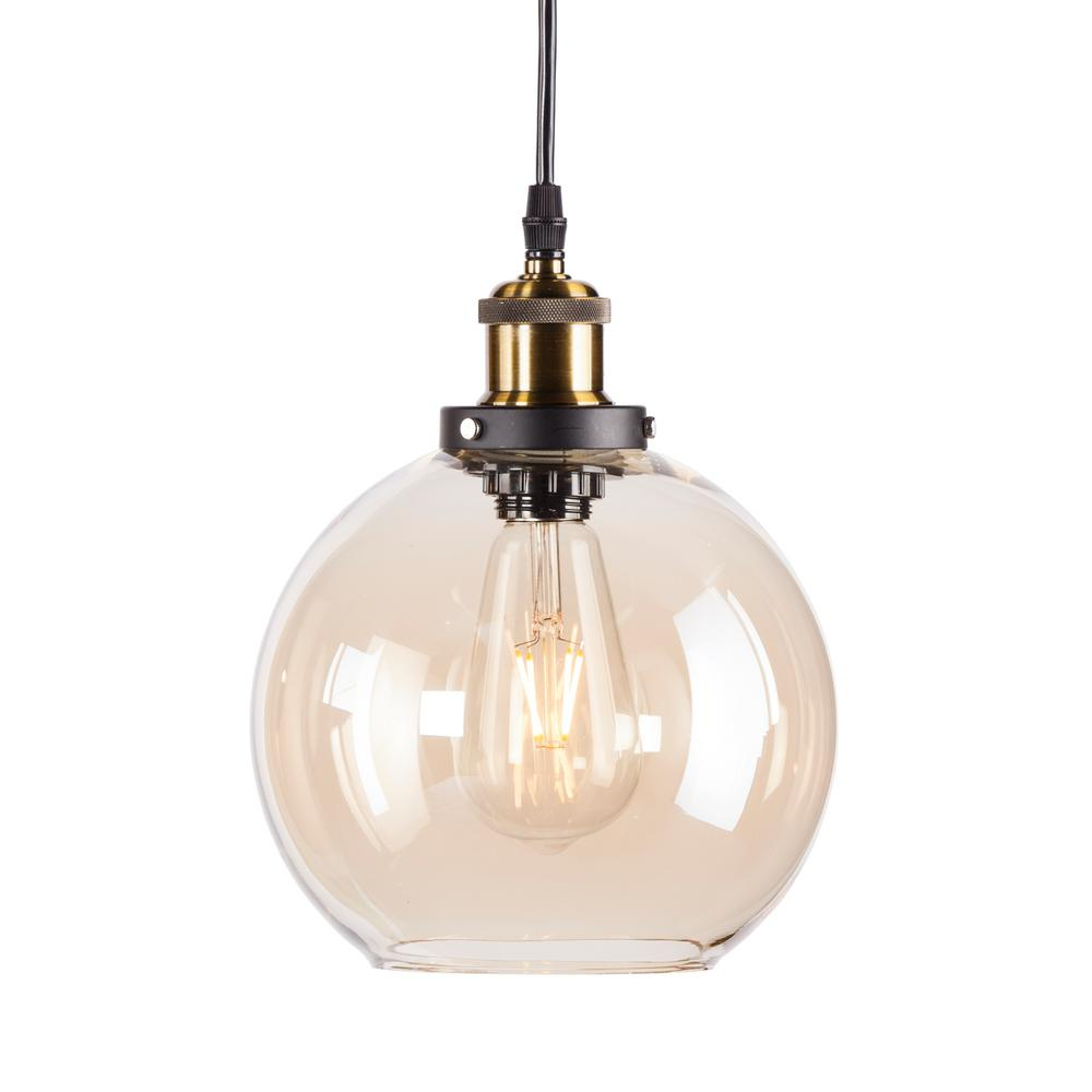 1-Light Globe Pendants in Most Popular Cameron 1-Light Golden Amber Globe Mini Pendant Lamp