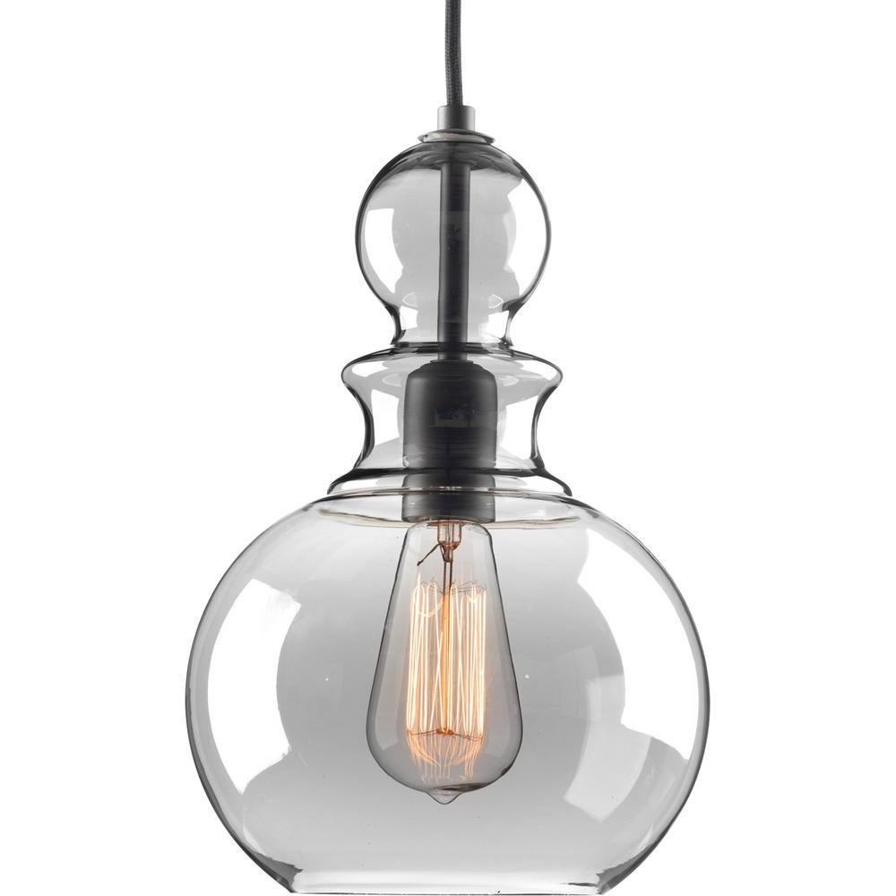 1-Light Single Bell Pendants inside Recent Progress Lighting Staunton Collection 1-Light Graphite Pendant With Smoke  Glass