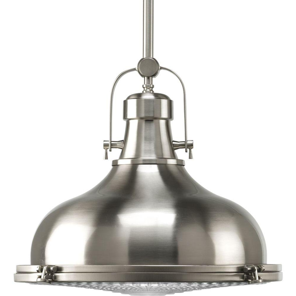 1-Light Single Dome Pendants regarding Well-liked Progress Lighting Fresnel Collection 1-Light Brushed Nickel Pendant With  Fresnel Lens