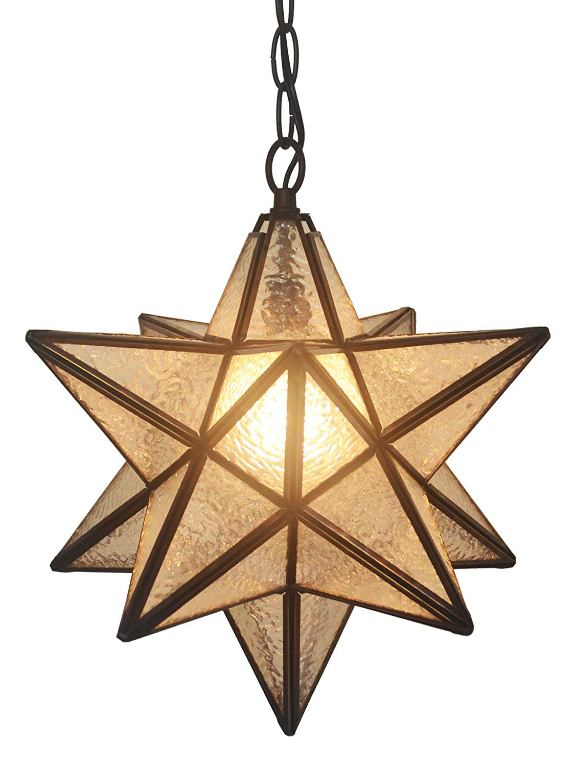 1-Light Single Star Pendants for Current Ht Tiffany Style Hanging Lighting, Single Head 13 Inch