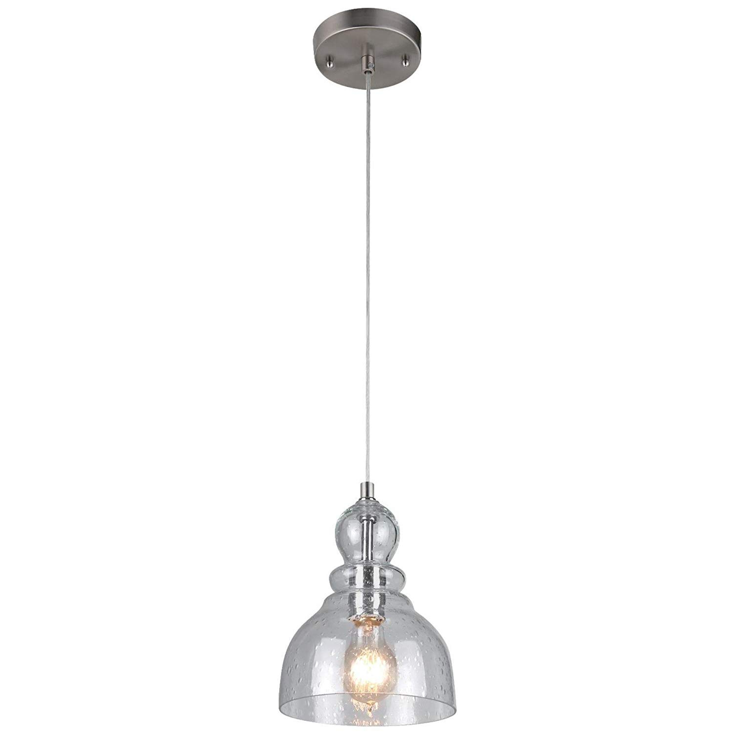 1-Light Single Star Pendants in Well-liked Westinghouse Lighting 6100700 One-Light Indoor Mini Pendant, Brushed Nickel  Finish With Clear Seeded Glass