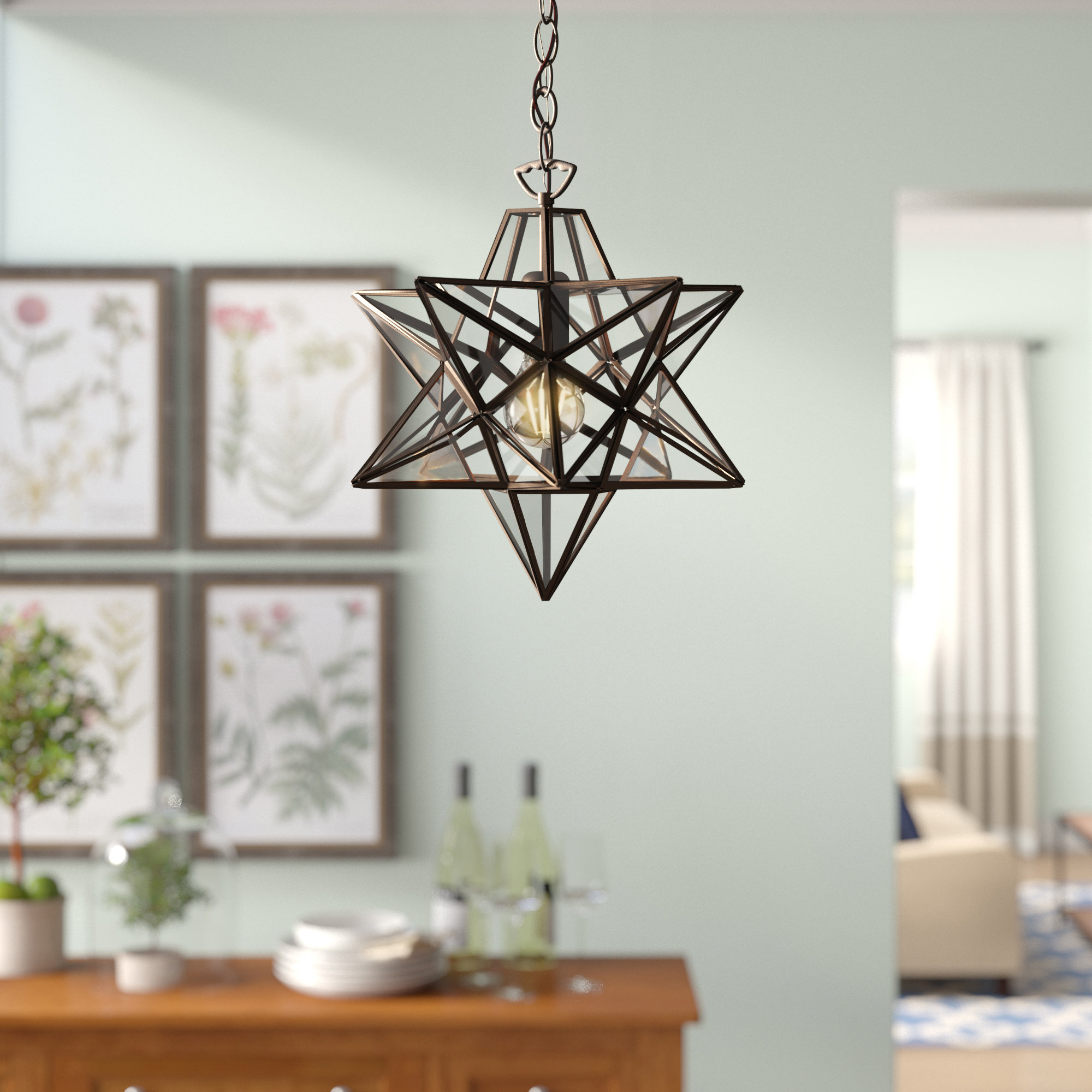 1-Light Single Star Pendants inside Most Recently Released 1-Light Single Star Pendant