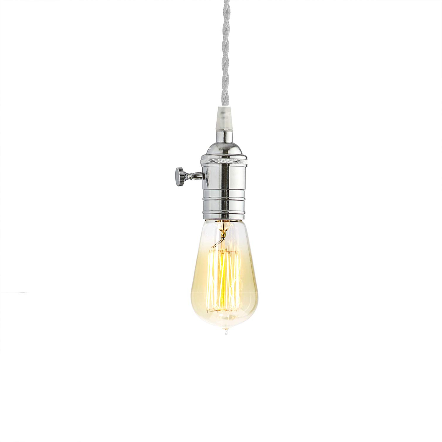 1 White Pendant Cord Light With 1 Vintage Edison Style Bulb, Single Chrome  Socket, Twisted Cord with Most Current Demi 1-Light Globe Pendants
