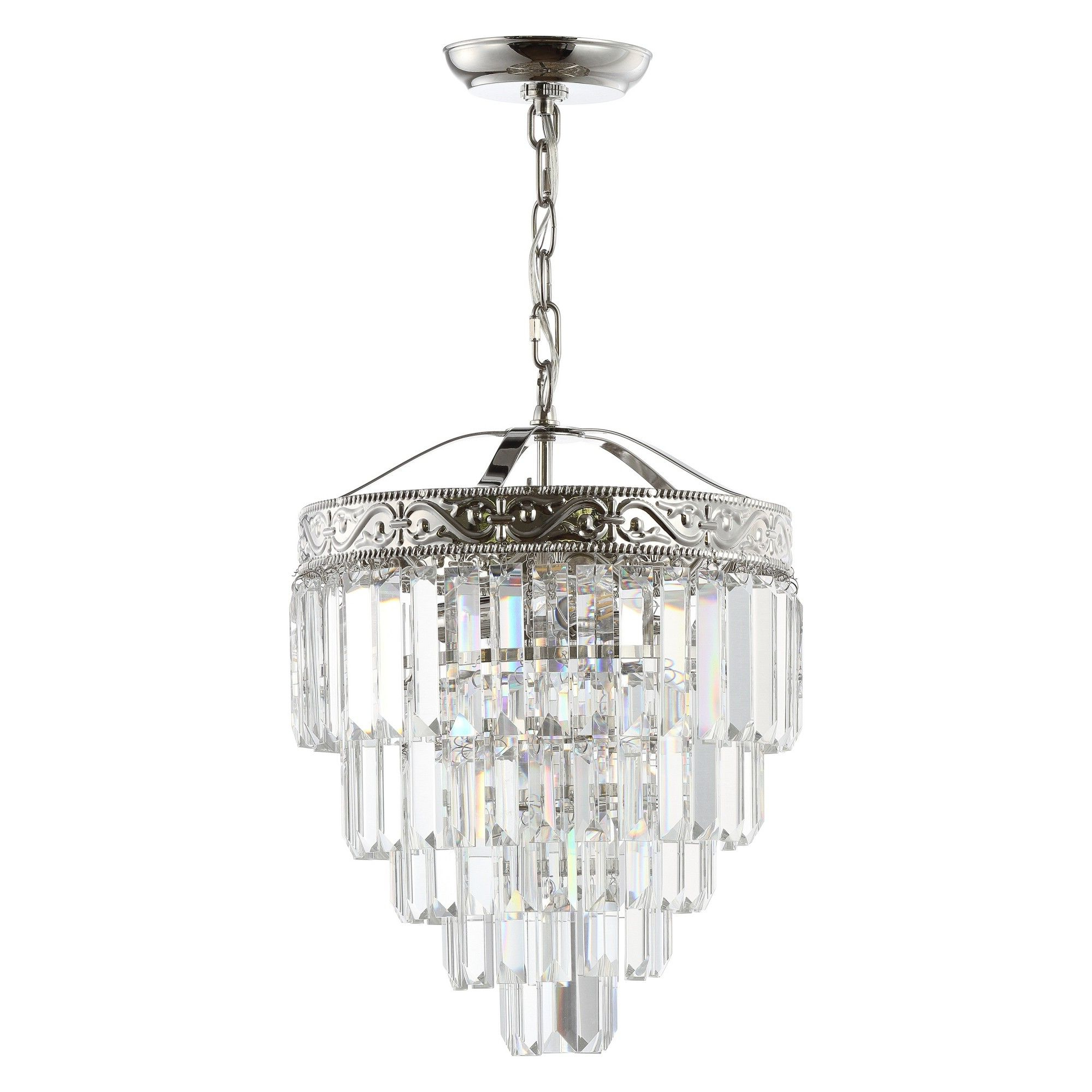 "12"" Wyatt 2 Light Crystal Led Chandelier Brushed Nickel For Newest Abel 5 Light Drum Chandeliers (Gallery 9 of 25)"