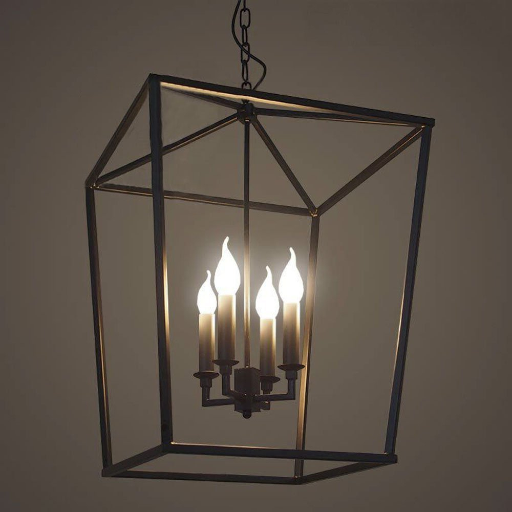 """18"""" Lighting 4 Lights Foyer Pendant With Lantern Style Cage In Fashionable Kenedy 9 Light Candle Style Chandeliers (View 14 of 25)"""