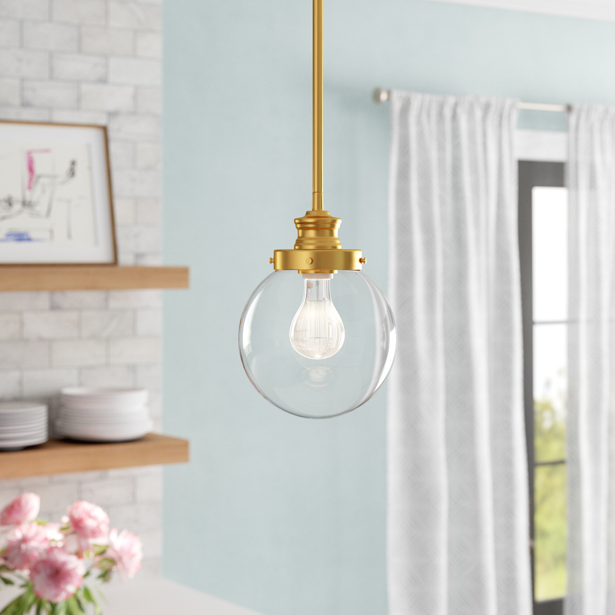 2019 Bautista 1-Light Single Globe Pendants with regard to Cayden 1-Light Single Globe Pendant