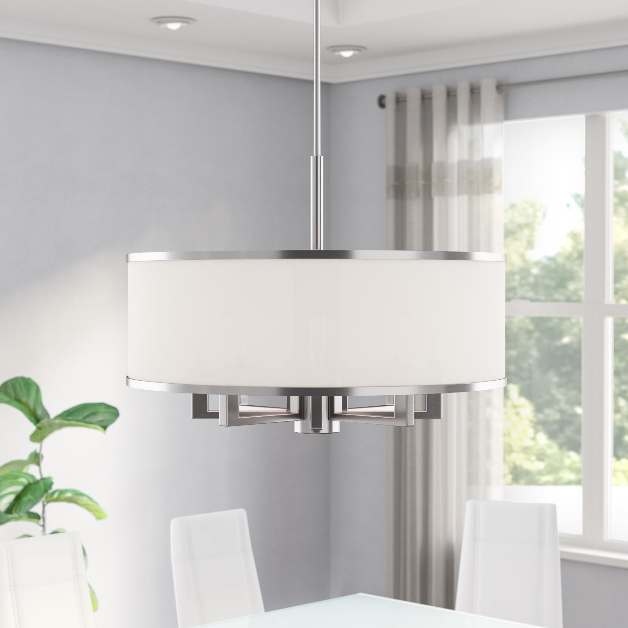 2019 Breithaup 4-Light Drum Chandeliers with Breithaup 7-Light Drum Chandelier