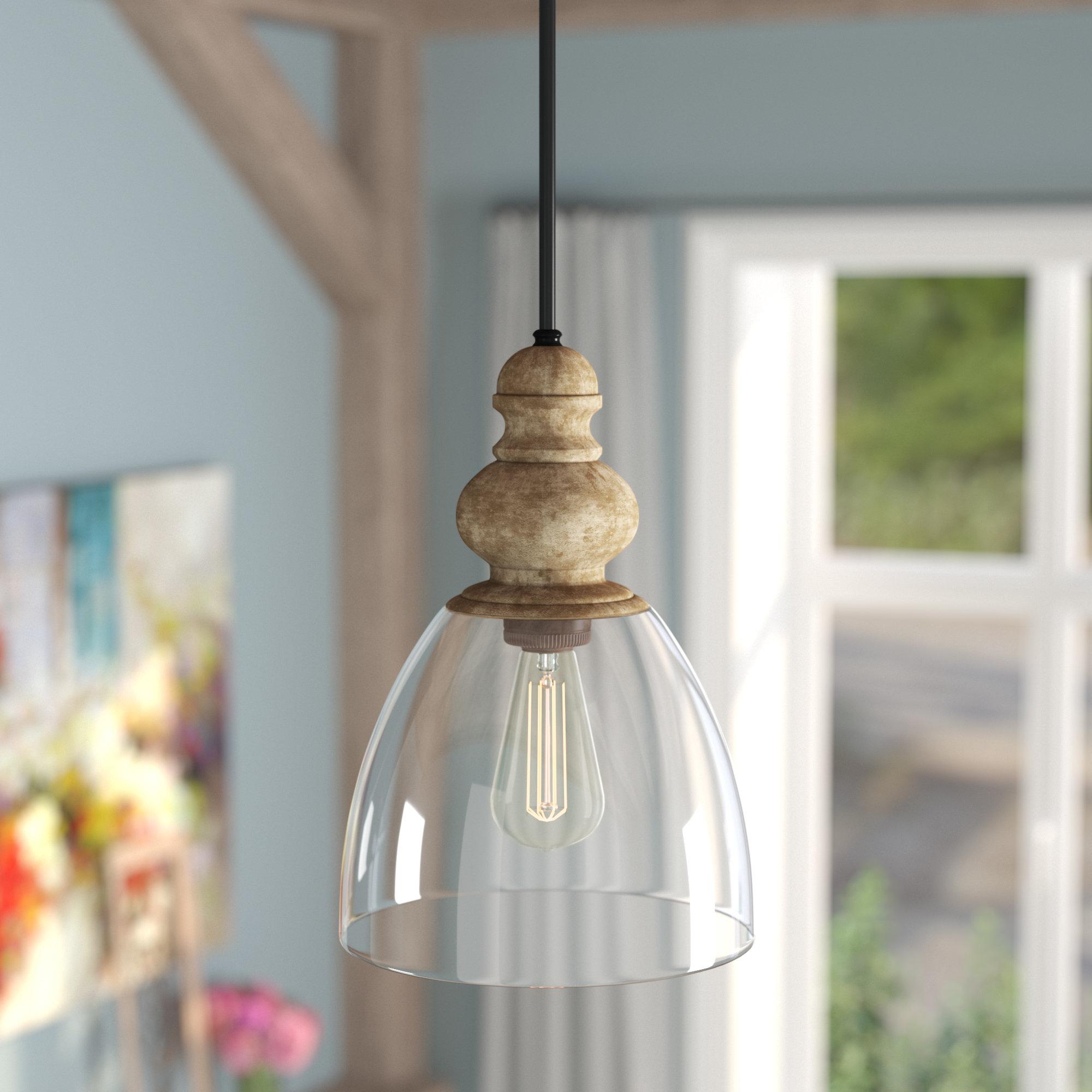 2019 Bundaberg 1-Light Single Bell Pendants inside Laurel Foundry Modern Farmhouse Lemelle 1-Light Single Bell