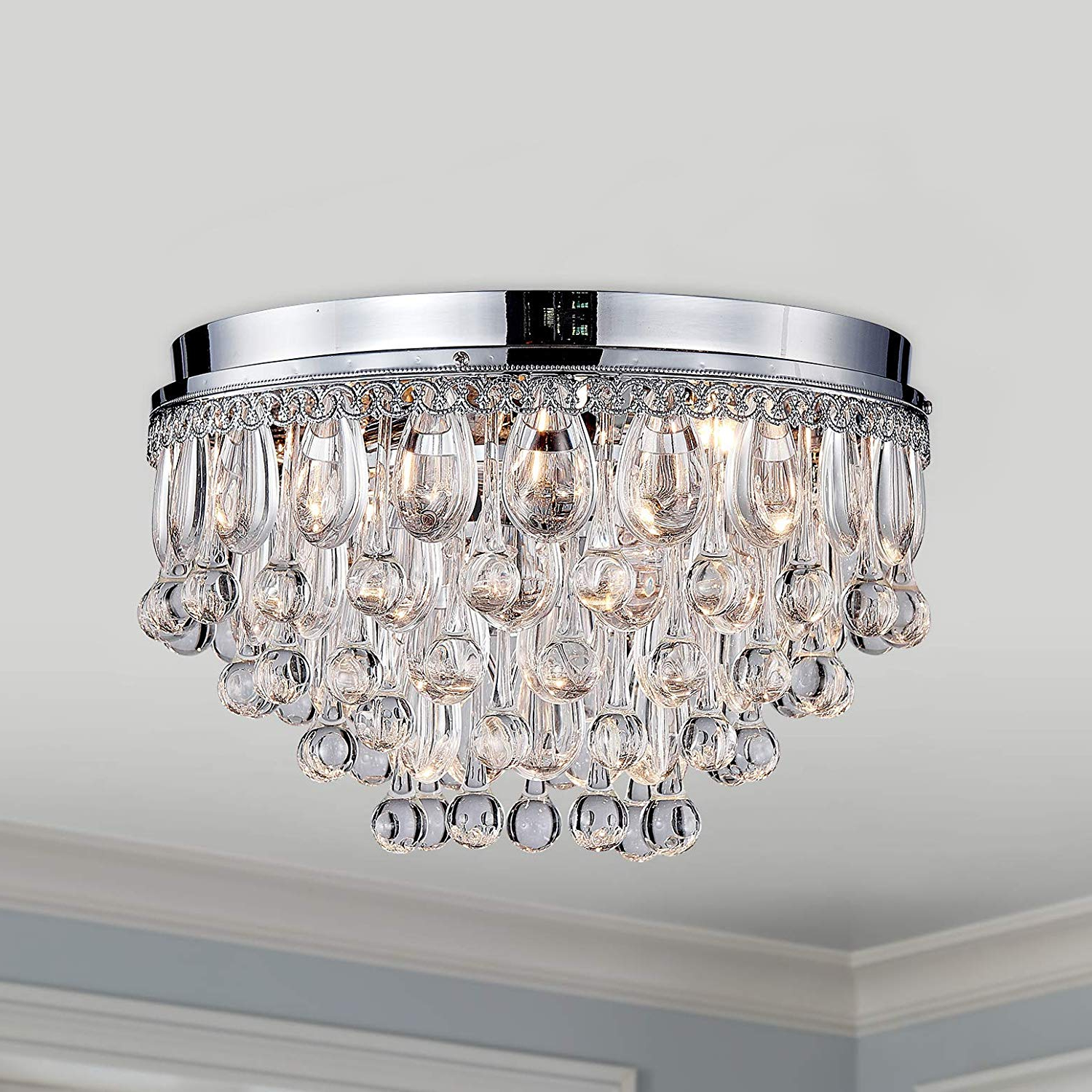 2019 Donna 4 Light Globe Chandeliers With Modern Clear Crystal Raindrop Round Chandelier Flush Mount Led Ceiling  Light Fixture Lighting Lamp For Dining Room Bathroom Bedroom Livingroom 4  E (View 2 of 25)