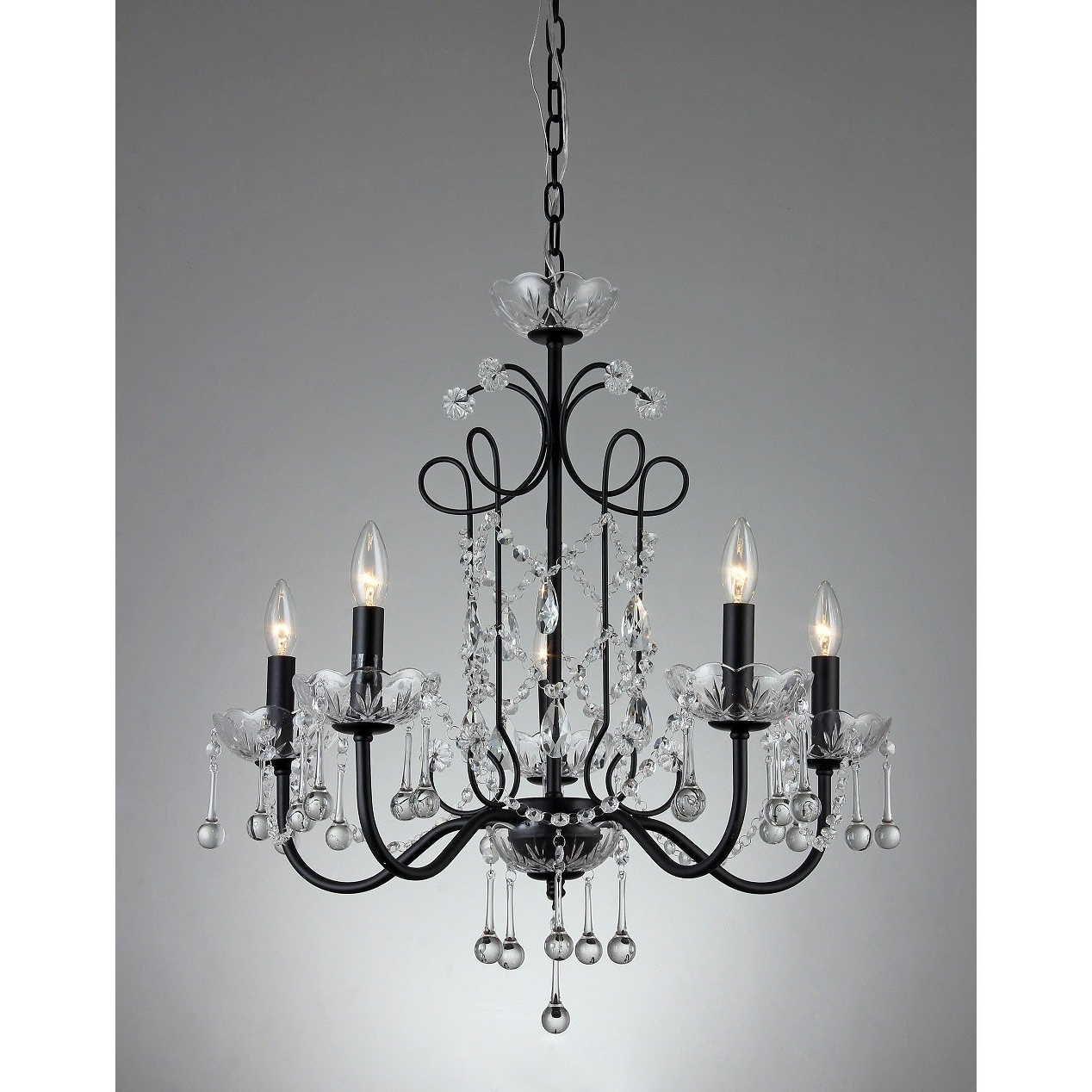 2019 Donna 5-Light Crystal 22-Inch Black Finish Chandelier with Donna 4-Light Globe Chandeliers
