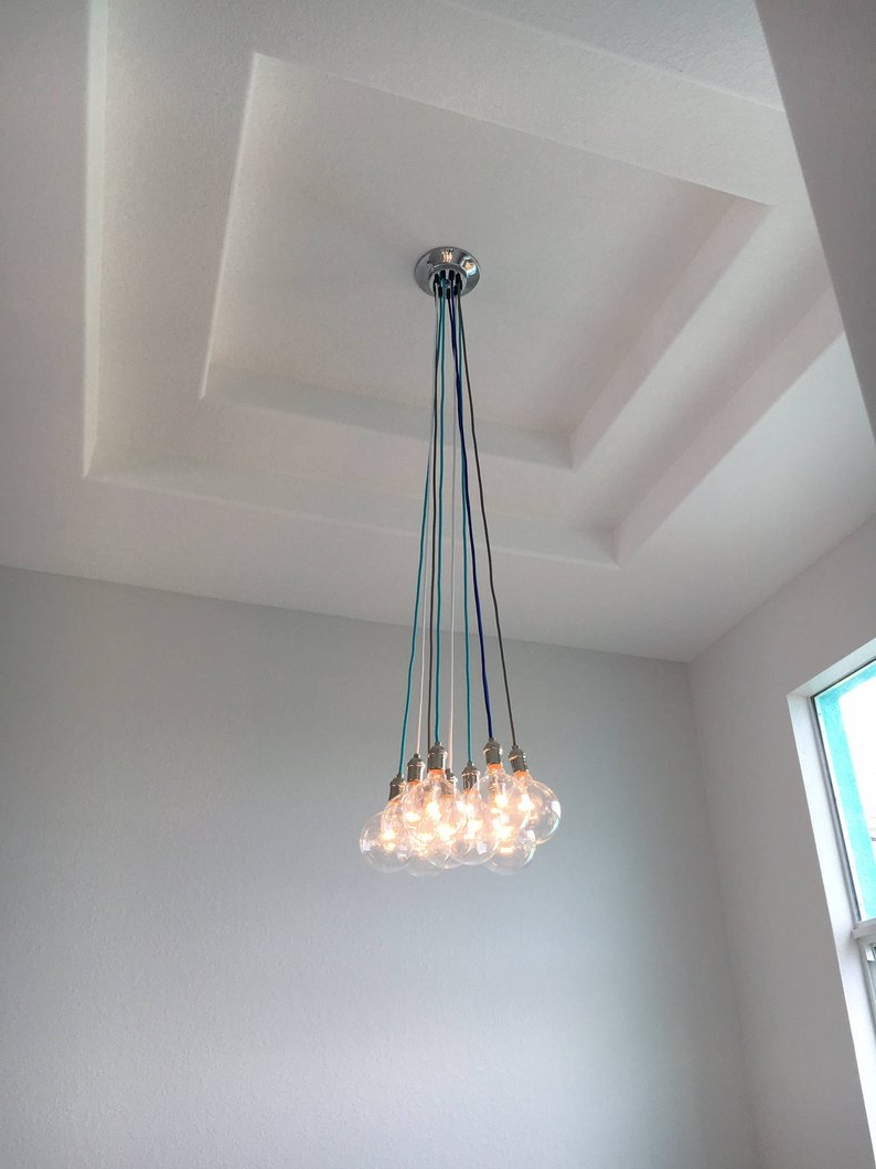 2019 Foyer Chandelier Custom Long Pendant Lights Multi 9 Etsy Inside Finnick 4 Light Foyer Pendants (View 23 of 25)