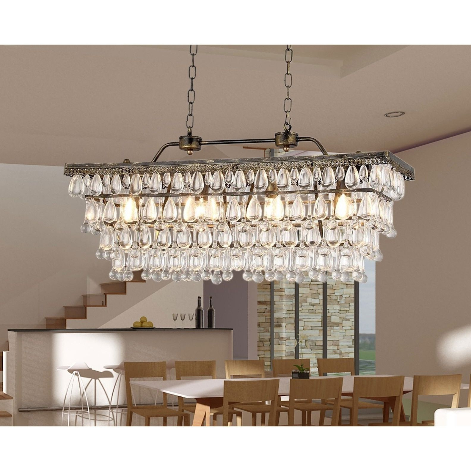 2019 Huskar Bronze 4 Light Pendant With Crystal Shade – Artofit Intended For Verdell 5 Light Crystal Chandeliers (View 4 of 25)