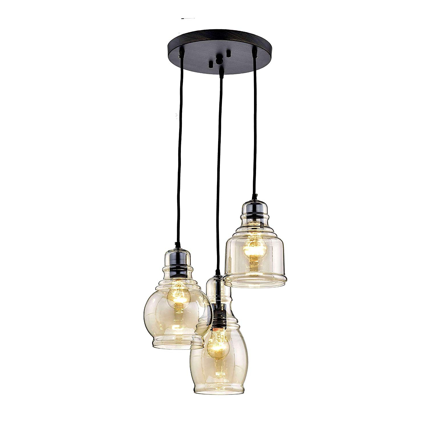 2019 Jojospring Mariana Antique Black Cognac Glass 3-Light Cluster Pendant  Chandelier pertaining to Pruett Cognac 3-Light Cluster Bell Pendants