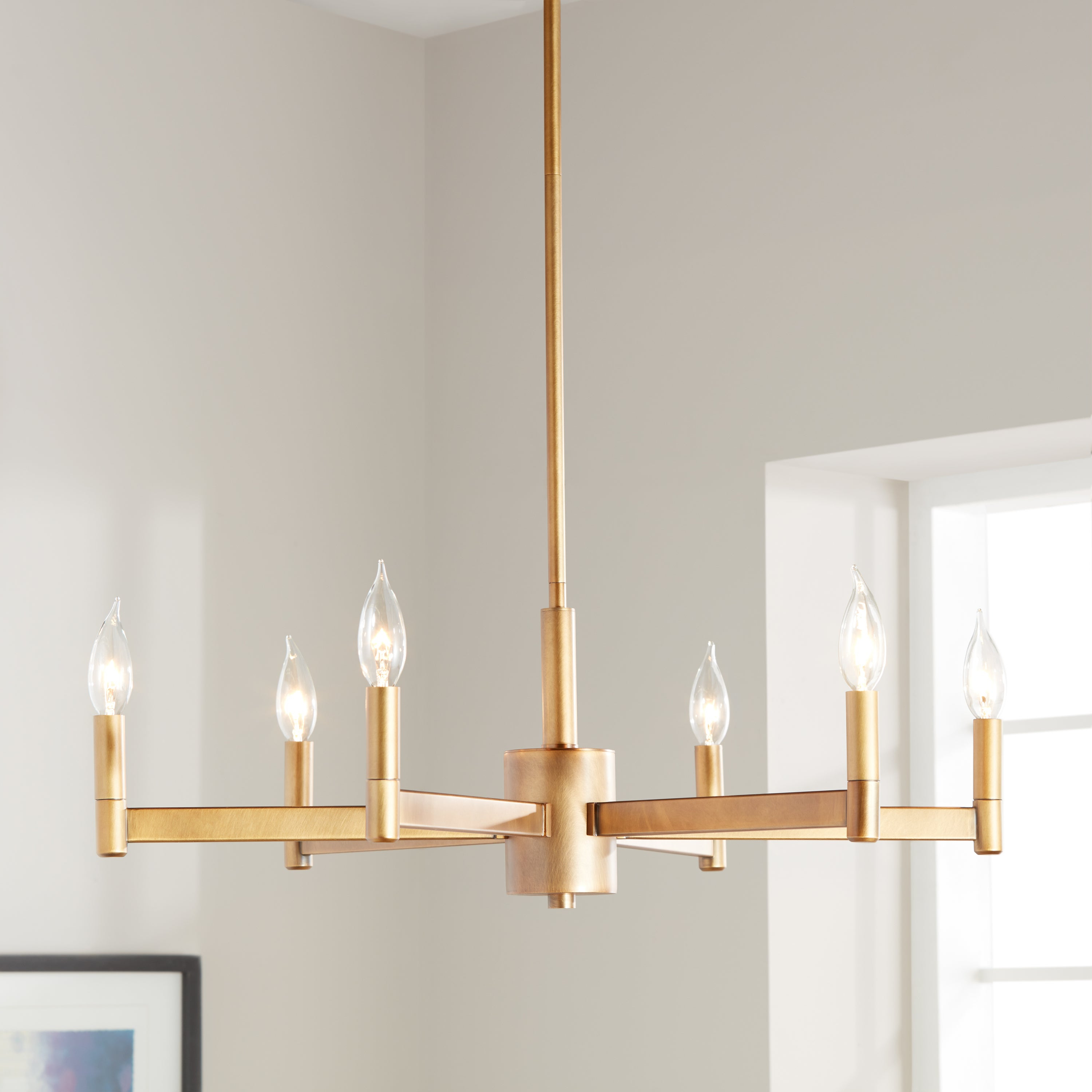 2019 Kichler Lighting Erzo Collection 6 Light Natural Brass Chandelier Inside Alden 6 Light Globe Chandeliers (View 20 of 25)