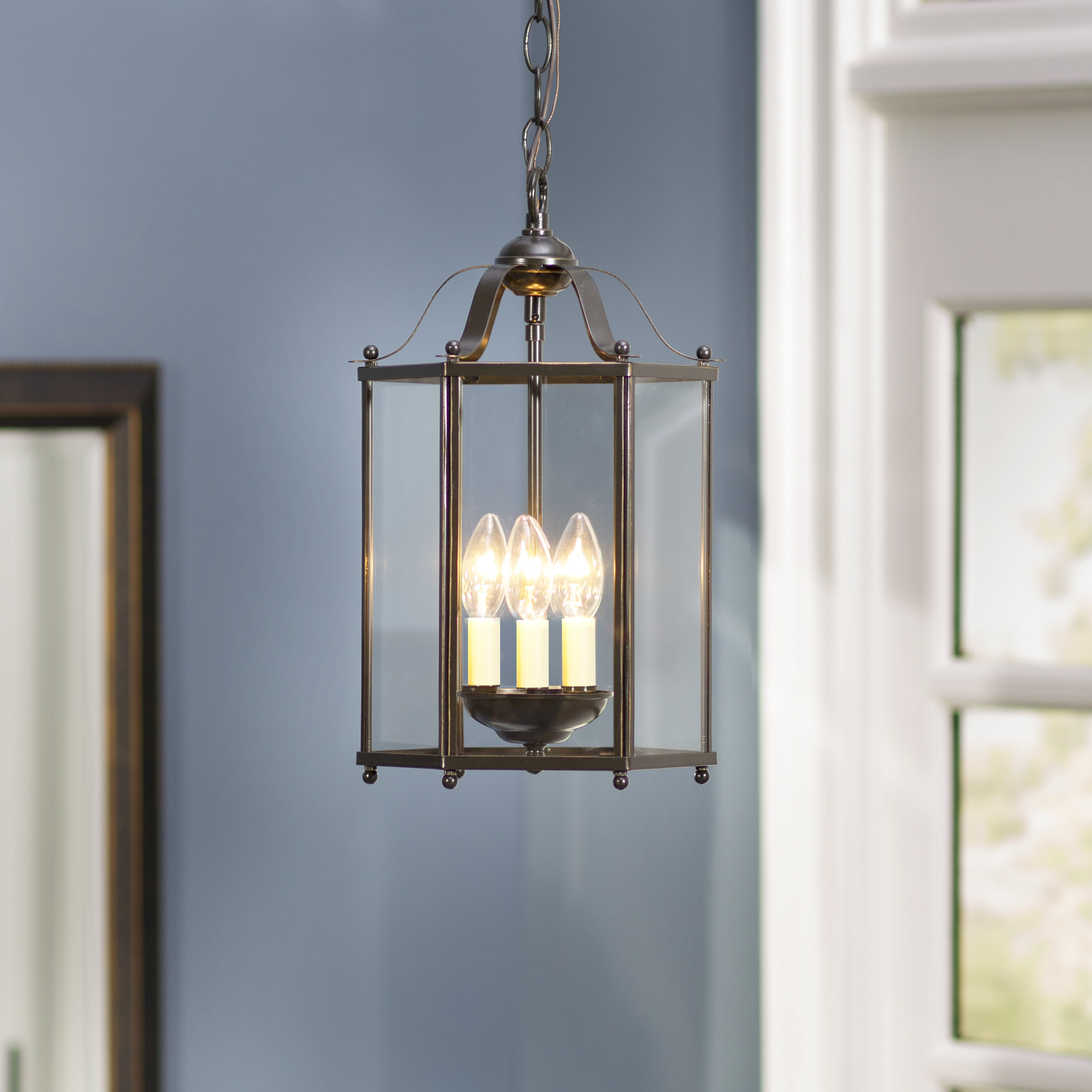 2019 Leiters 3-Light Lantern Geometric Pendant within Chauvin 3-Light Lantern Geometric Pendants