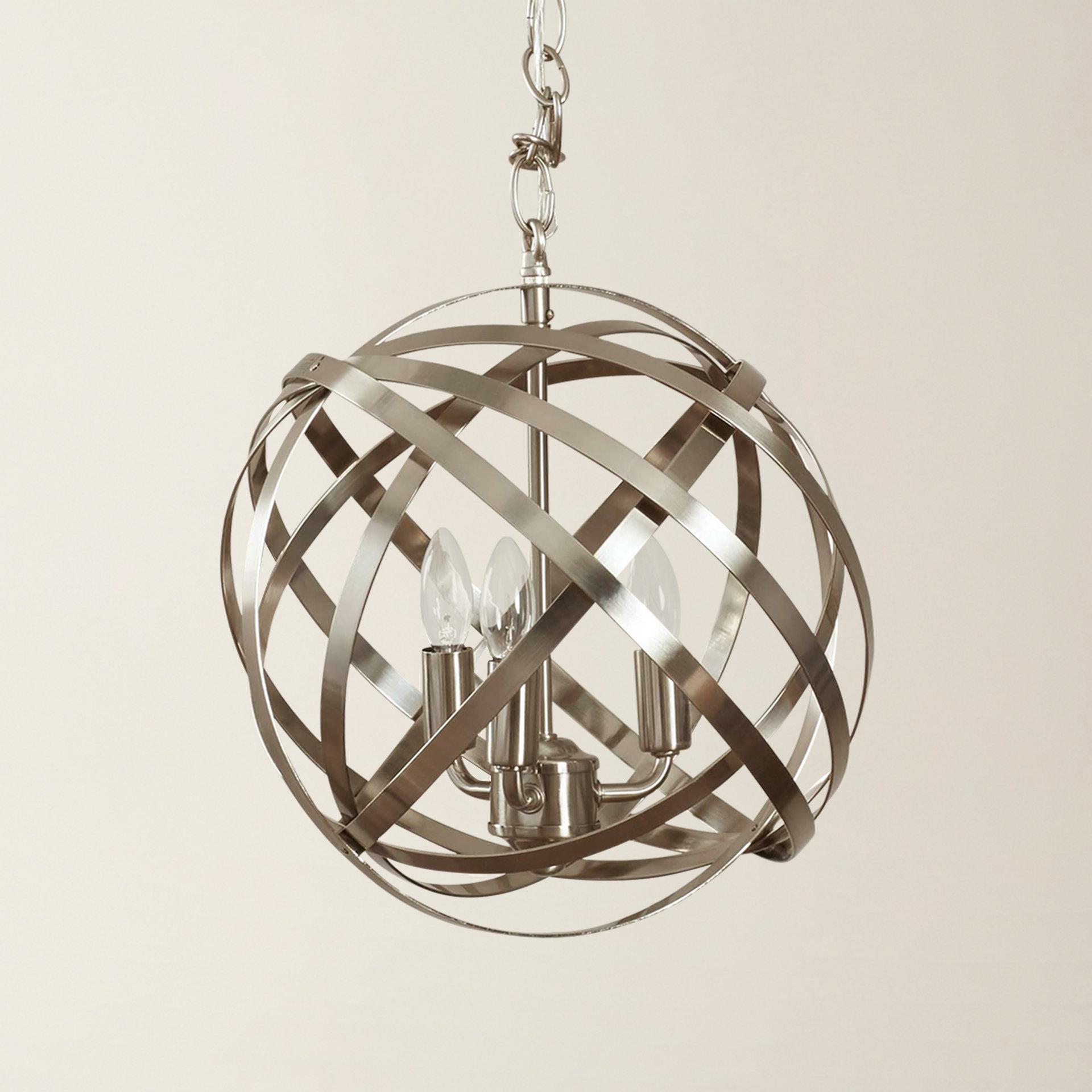 2020 Adcock 3-Light Single Globe Pendants regarding Publicado Adcock 3-Light Single Globe Pendant
