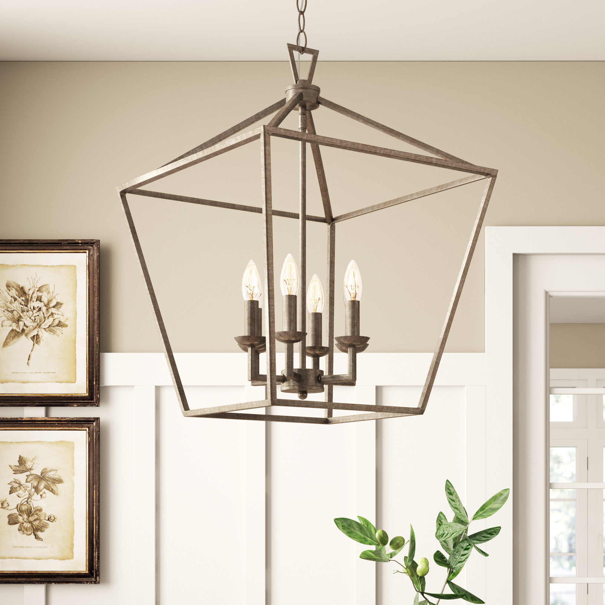2020 Armande 4 Light Lantern Drum Pendants Within Farmhouse & Rustic Foyer Pendants (View 19 of 25)