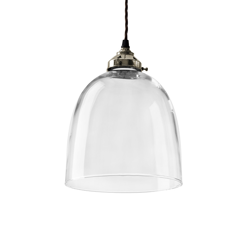 2020 Blown Glass Bell Pendant – Nickel – Large Pertaining To Amara 3 Light Dome Pendants (View 3 of 25)