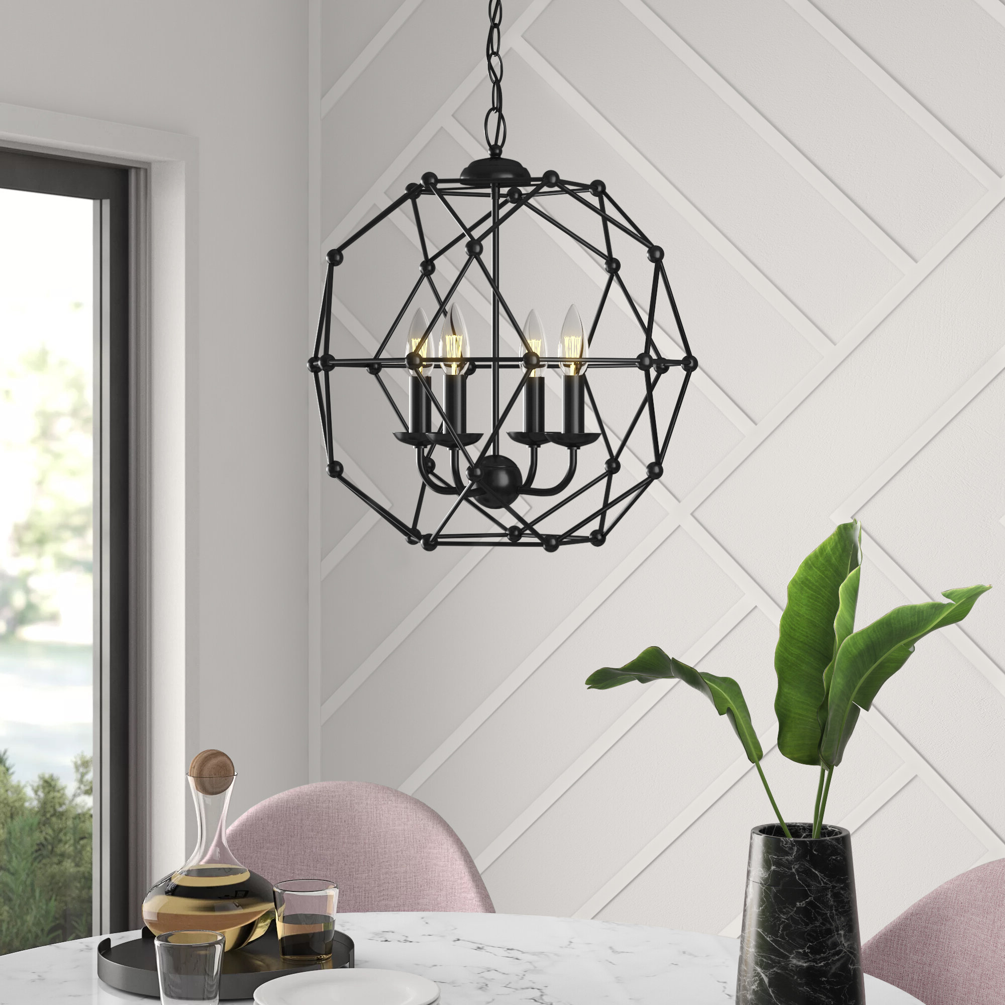 2020 Cavanagh 4 Light Geometric Chandelier With Regard To Kaycee 4 Light Geometric Chandeliers (View 6 of 25)