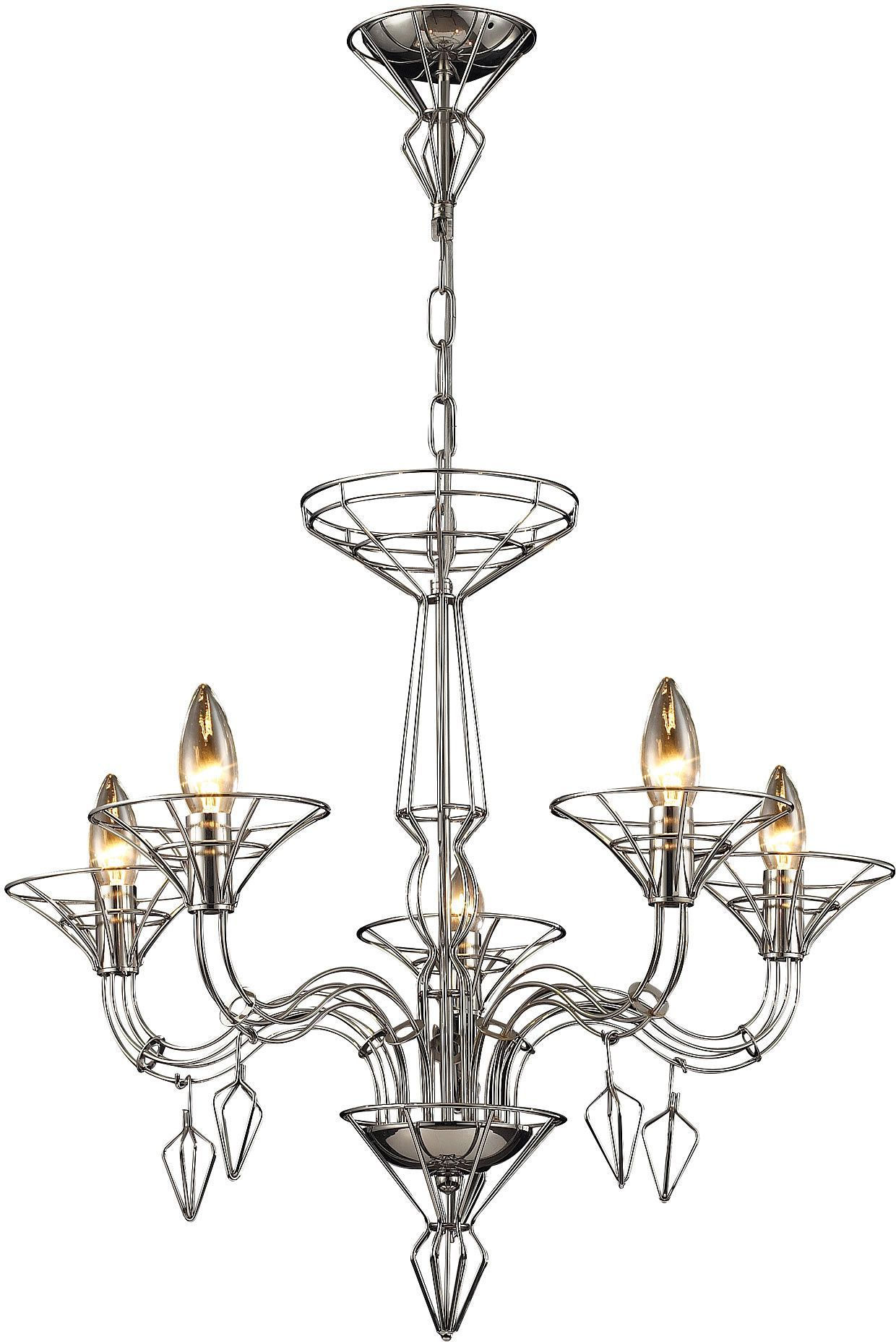 "2020 Hesse 5 Light Candle-Style Chandeliers in 0-016797>26""""w Couture 5-Light Chandelier Satin Nickel With"