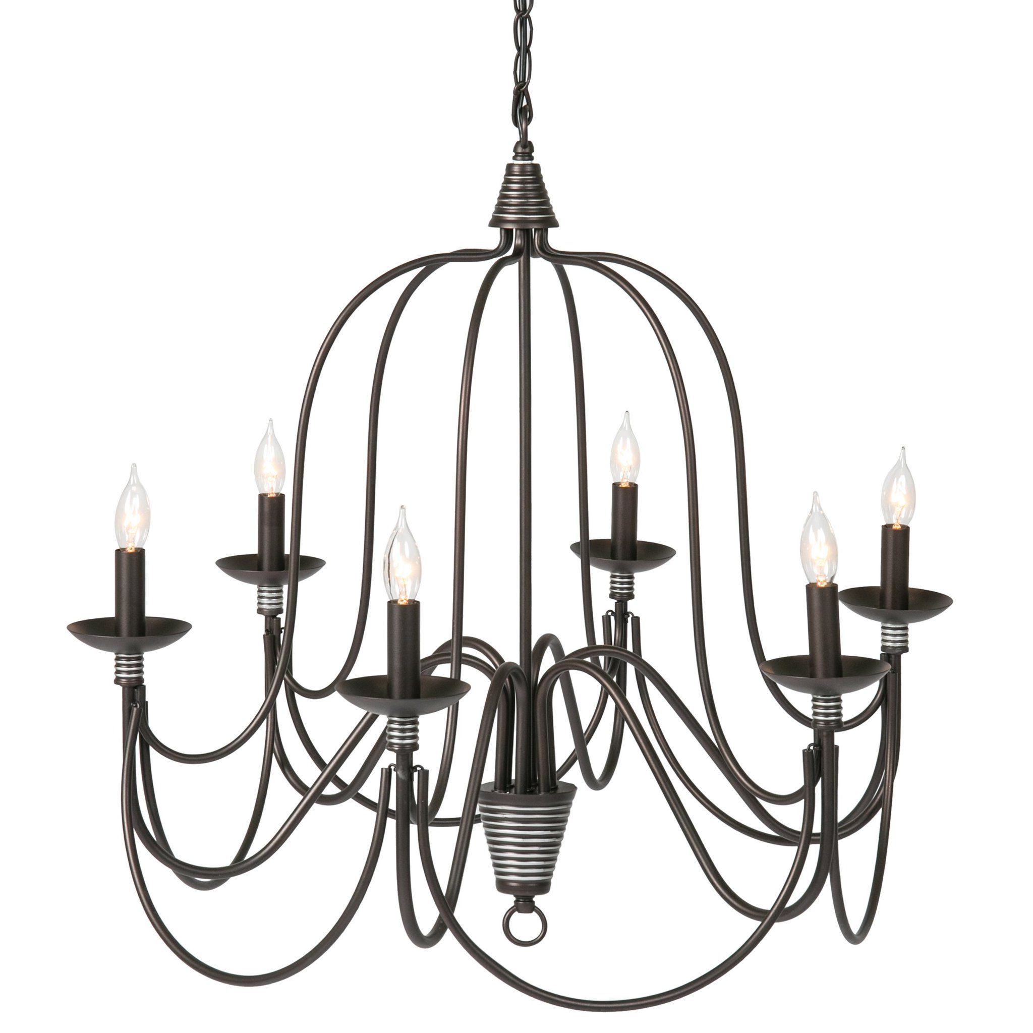 25In 6 Light Candle Chandelier Lighting Fixture W/ 41In Intended For 2019 Camilla 9 Light Candle Style Chandeliers (View 9 of 25)