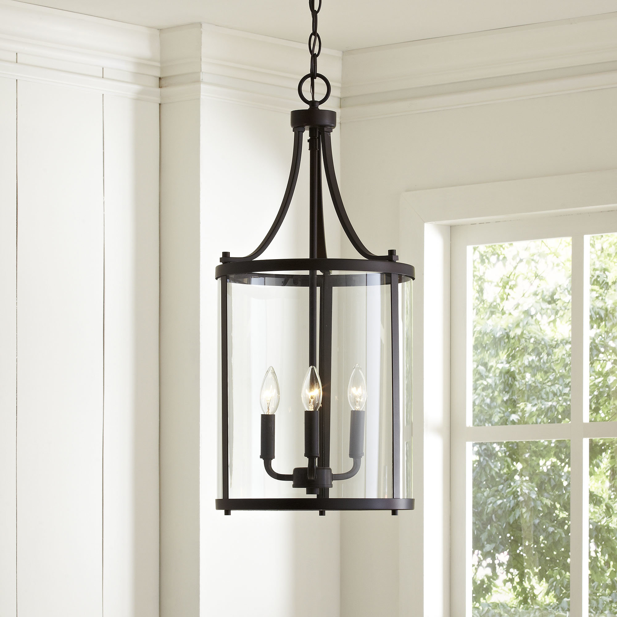 3-Light Lantern Cylinder Pendant with Recent Armande 3-Light Lantern Geometric Pendants
