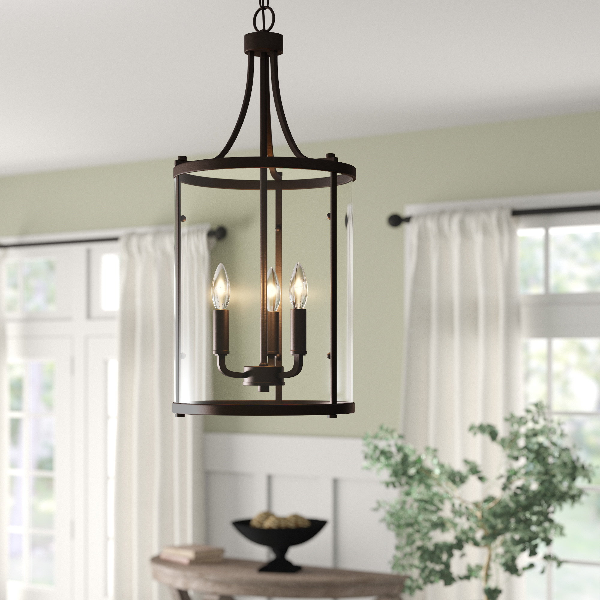 3-Light Lantern Cylinder Pendants inside Well-known 3-Light Lantern Cylinder Pendant