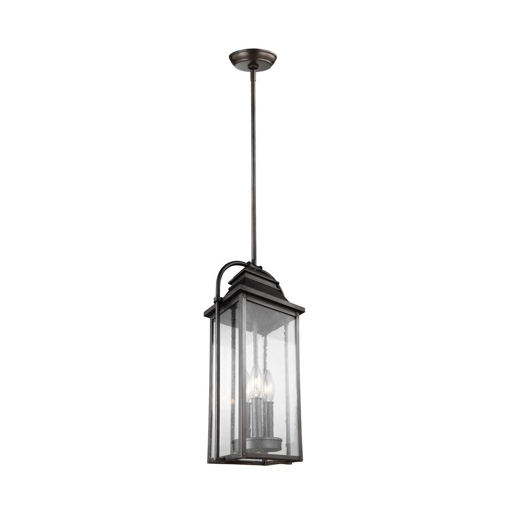 3-Light Lantern Cylinder Pendants pertaining to Newest Feiss Wellsworth 3-Light Antique Bronze Outdoor Hanging Pendant Lantern
