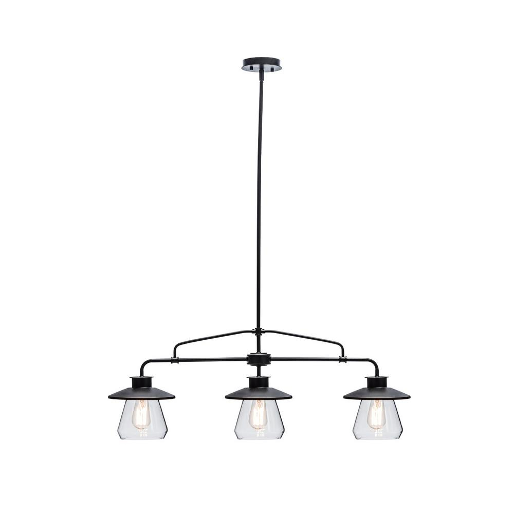 3-Light Oil Rubbed Bronze And Glass Vintage Pendant pertaining to Well-liked Schutt 4-Light Kitchen Island Pendants