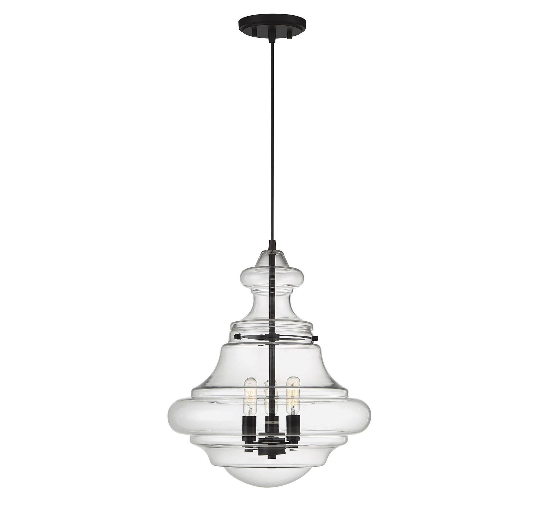 3-Light Single Urn Pendants with Fashionable Edford 3-Light Single Schoolhouse Pendant